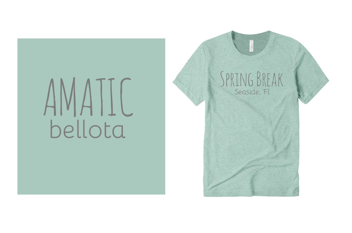 Amatic and Bellota Fonts on Custom T-Shirts
