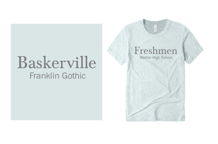 Baskerville and Franklin Gothic Font for T-Shirts