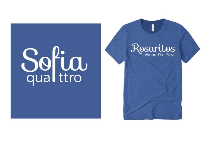 Sofia and Quattro Fonts on Custom T-Shirts
