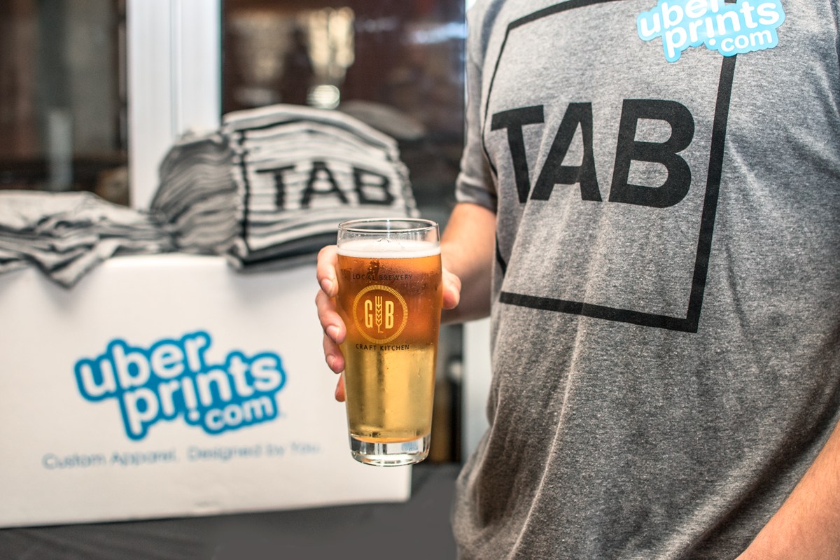 Custom t-shirts supplied by UberPrints at Tech And Beers Atlanta.