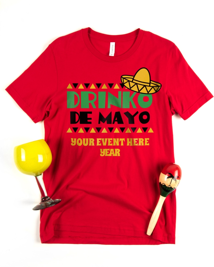 A custom Cinco de Mayo t-shirt design template printed on a red Greenwich T-Shirt by Canvas.