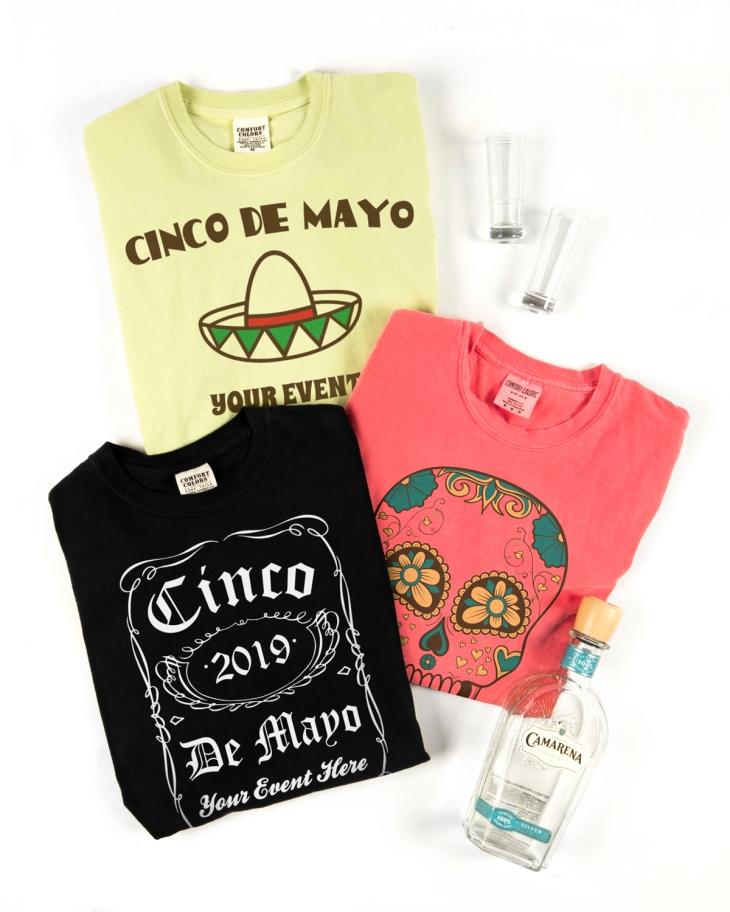 Three examples of custom-made Cinco de Mayo t-shirt designs using design templates.