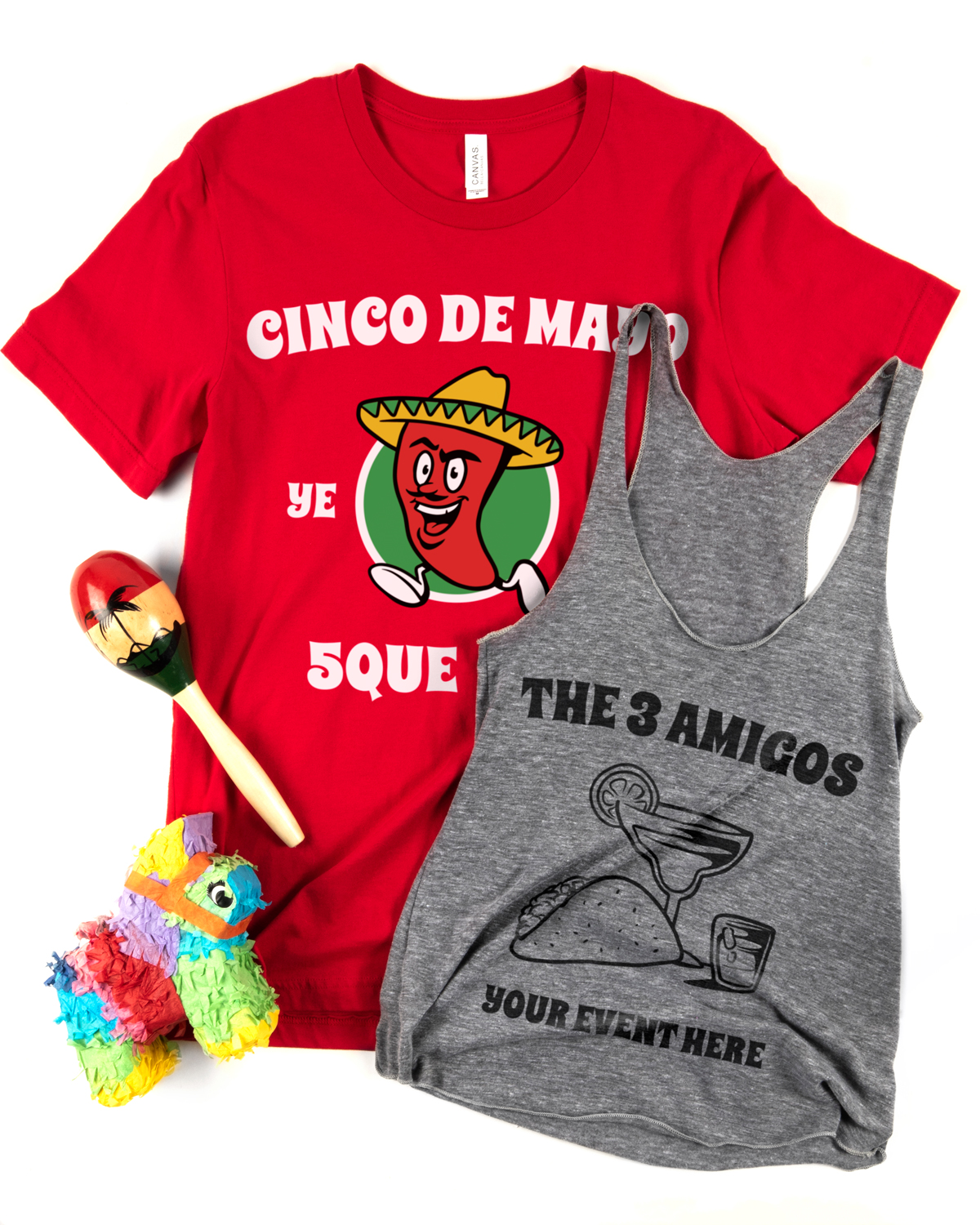 Two customizable Cinco de Mayo t-shirt design templates printed on a red men's t-shirt and an athletic grey woman's tank top.