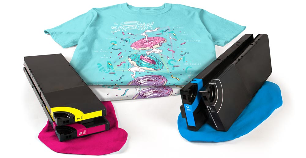 Two digitally printed t-shirts with the printer's CMYK ink cartridges.