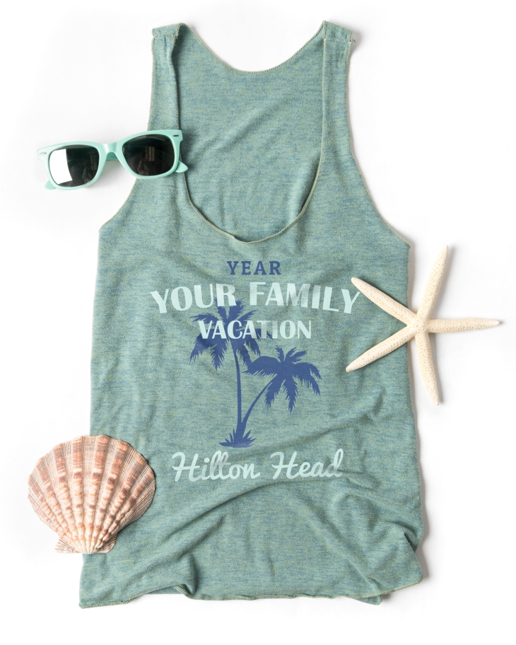 The Women's Tri-Blend Tank by American Apparel printed with a beach themed family vacation design template.