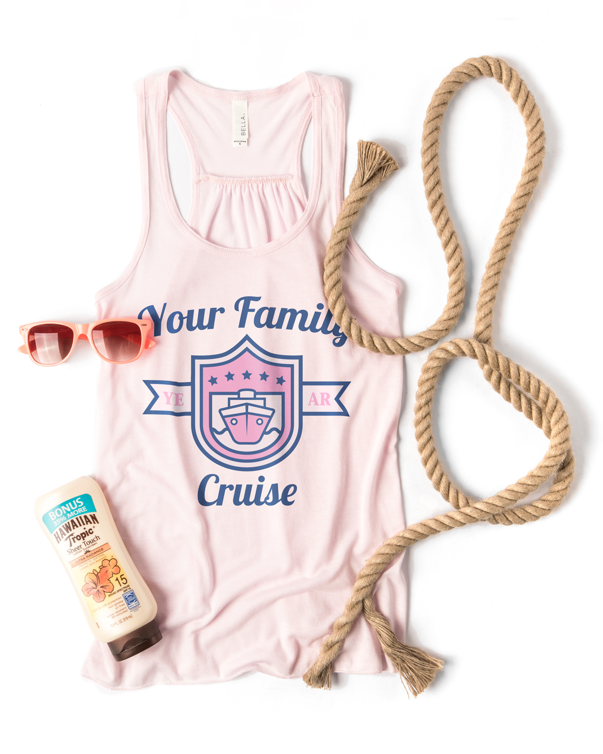 The Flowy Racerback Tank by Bella in soft pink printed with a cruise themed family vacation design template.