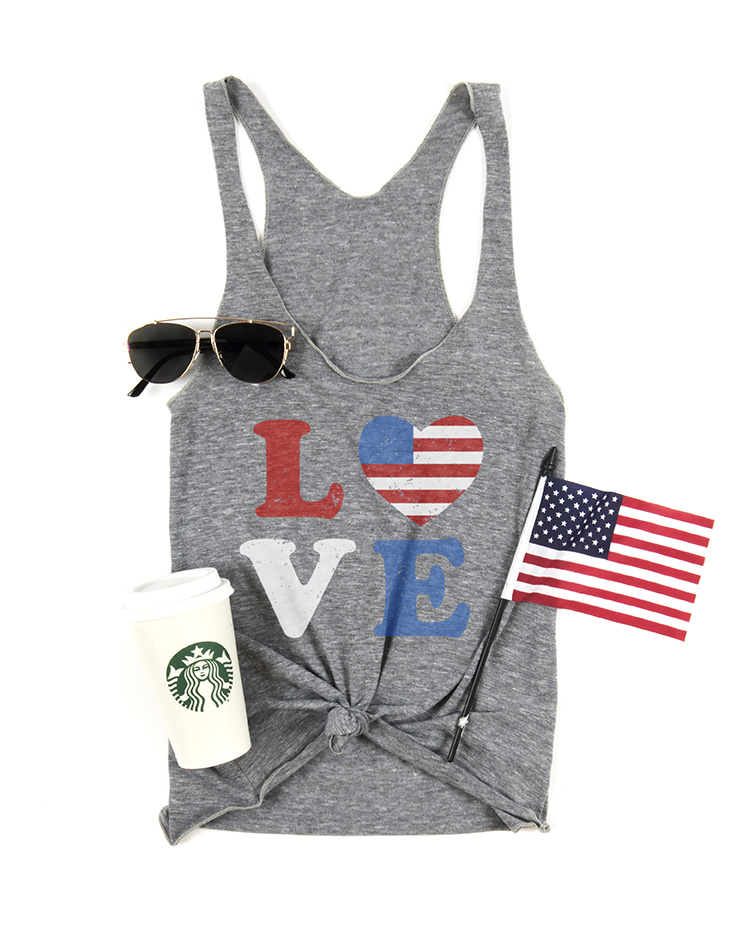 The Women's Tri-Blend Tank printed with a Fourth of July t-shirt design along with sunglasses, coffee, and an american flag.