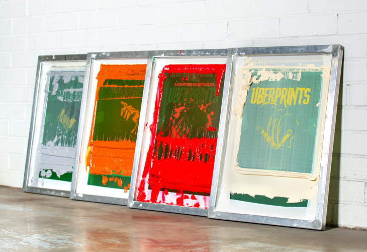 The four different color screens used to print the Halloween t-shirt design.