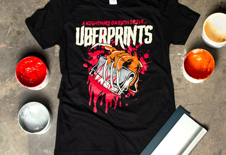 Printed Halloween t-shirt arranged with the four different ink colors.