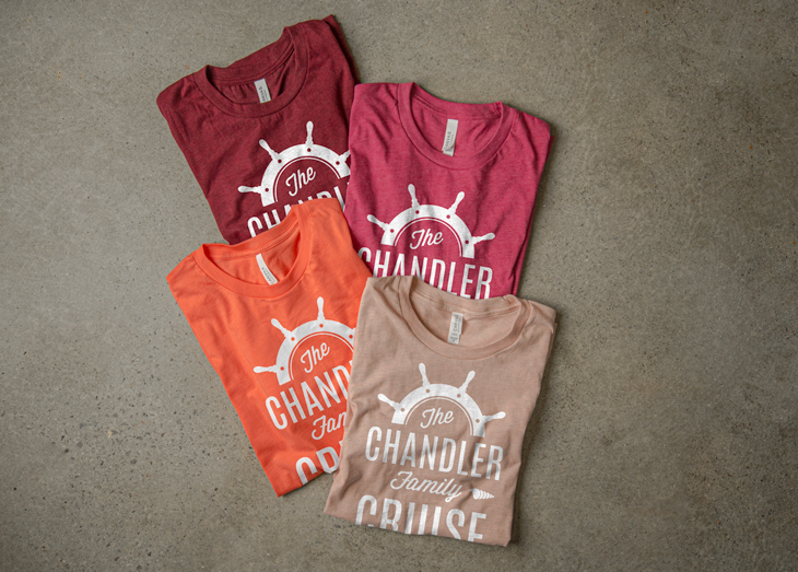 T-Shirt Color Palette Inspiration - Heather Cardinal, Heather Raspberry, Coral and Heather Prism Peach.