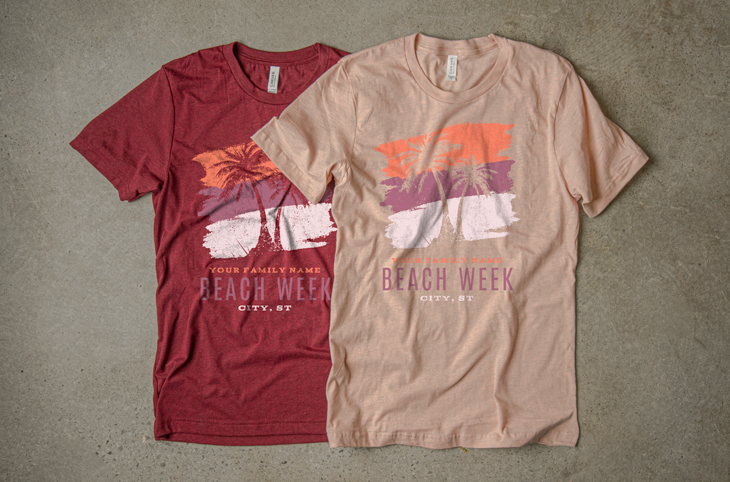Heather Cardinal and Heather Prism Peach T-Shirts with Coral, Raspberry and Pale Pink ink.