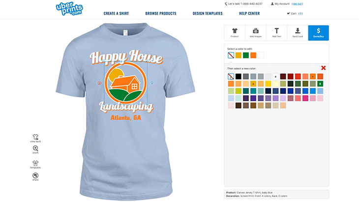 Demonstrating how to use the shirt color as part of the t-shirt design with the example landscaping business t-shirt design.